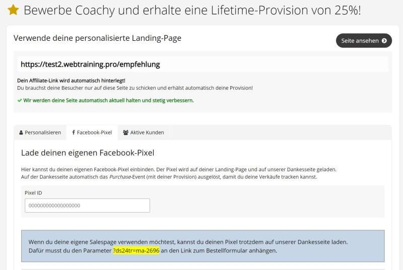 Online Kurs erstellen Software Coachy Facebook-Pixel